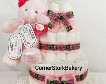 Army Baby Girl Gift  Army Baby Shower Centerpiece  Baby Girl Diaper Cake  Pink Army Diaper Cake  Pink Army Baby Shower  Army Centerpiece 