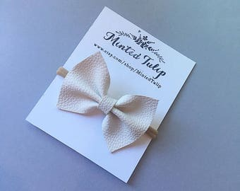 White Textured Faux Leather Bow on Headband or Hair Clip Baby Toddler Kids