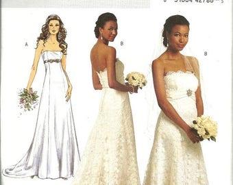 25% OFF Butterick 5325   Misses Wedding Gown, Evening Gown  Size 6,8,10,12  UNCUT