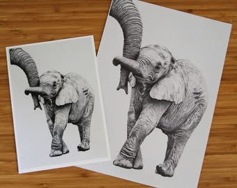 Baby Elephant - A4/A5 print of an original drawing by Robert J Stewart
