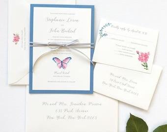 Butterfly Wedding Invitation, Elegant Butterfly Wedding Invitation Suite