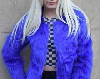 Electric blue faux fur bolero coat jacket