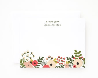 Personalized Flat Card Set of 12 | Custom Floral Stationery Notecards : Blooming Wreath Collection Personalized Stationery Set