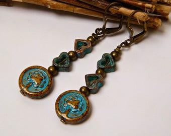 SALE 20% - rustic earrings, dangling earrings, glass, antique brass