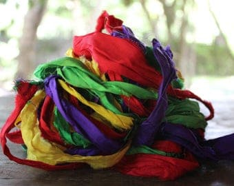 Recycled Sari silk ribbon - Foursome