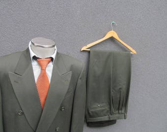 Vintage Two Piece Double Breasted Wool Suit Size 42R Large Lrg / Vtg Mens 2 Piece Double-Breasted Green Suit Jacket & Pants / Made in Canada
