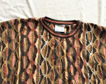 Vintage 90s Coogi Brown Orange Crazy Knit Sweater 2X