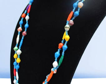 Hand-crafted paper beaded African necklace, colourful multi-strand necklace, traditional African jewelry, ethnic African accessories