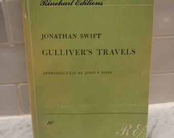 Gulliver's Travels Paperback Book Jonathan Swift - Rinehart Editions - 1958