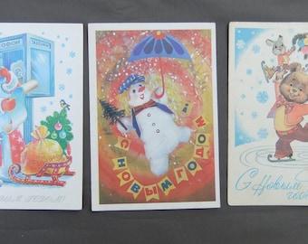 Soviet Vintage Postcards Congratulation Happy New Year Christmas illustration