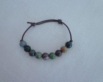 Unisex Hemp Bead Bracelet,Natural Agate Bracelet,Adjustable Bead Bracelet for Men #AG02