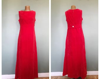 Vintage 60s Red Velvet Evening Gown / Maxi Dress / Old Hollywood Glamour / Sheath / Sleeveless / Empire Waist