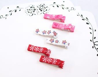 Baby Hair Clips, 6 Mini Clips, Baby Girl Clips, Baby Bows, Baby Gift, Holiday Hair Clips, Toddler Hair Clips, Baby Clips