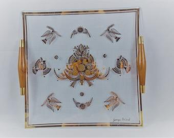 Vintage Georges Briard Glass Square Tray Wood Handles Sonata