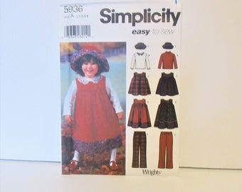 Vintage Simplicity Pattern Easy Jumper, Top, Pants & Hat Toddler's Size 1/2, 1,2,3,4 #5936