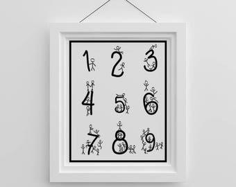 Fun Stick Figure Numbers Counting Nursery Print