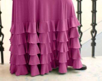 Estrella Flamenco Skirt-Raspberry