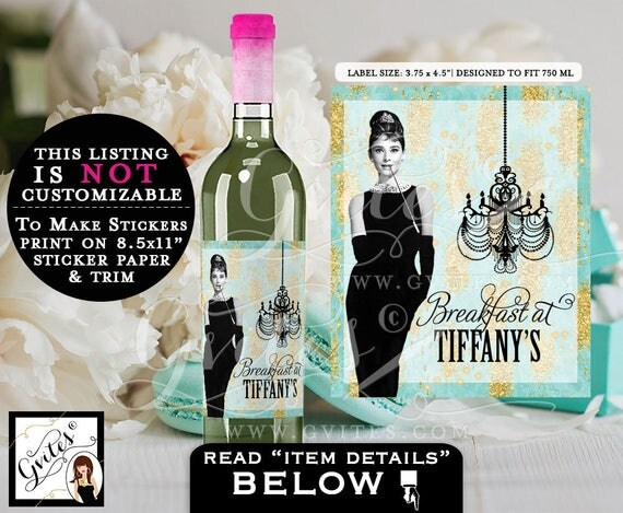 "Breakfast at Tiffany's Wine labels Audrey Hepburn instant download wine bottle blue stickers, tags. PRINTABLE {3.75x4.5""/4 Per Sheet}"