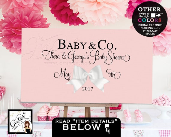 Baby and co Backdrop baby shower, welcome poster signs, coed baby shower, customizable, digital file, table backdrops, blush pink, PRINTABLE