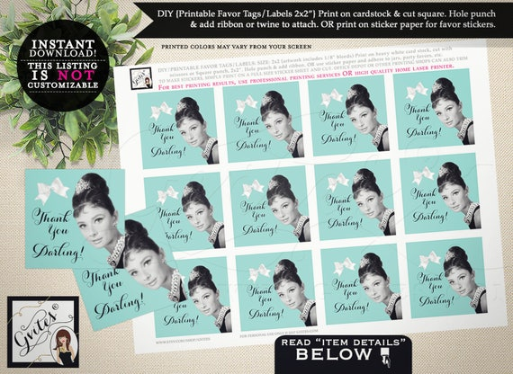 Audrey Hepburn party printables, favor tags, thank you darling, breakfast at co bridal baby shower, weddings, labels, toppers, 2x2 JPG & PDF