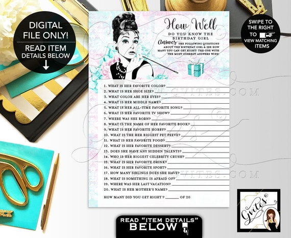 how well do you know the birthday girl audrey hepburn party theme
