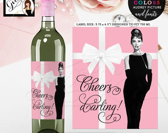 "Customizable Audrey Hepburn Cheers Darling! Wine Labels. Breakfast at blue theme wine stickers, gifts party favor. {3.75x4.5""/4 Per Sheet}"