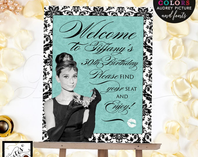 Welcome birthday signs, breakfast at blue and co themed, Audrey Hepburn party supplies, DIGITAL signs. {Customizable Name & Birthday Only}
