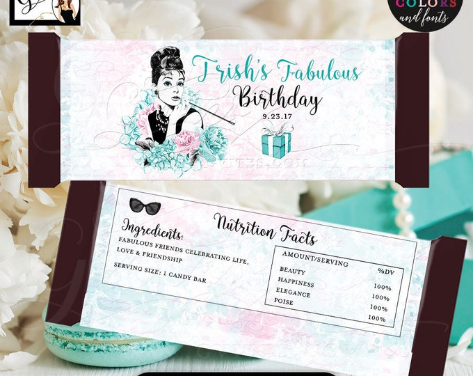 "Birthday Candy Wrappers, Audrey Hepburn Candy bar wrappers, labels decor, breakfast at and co favors gifts, {2 Per/Sheet 5.25 x 5.75""}"