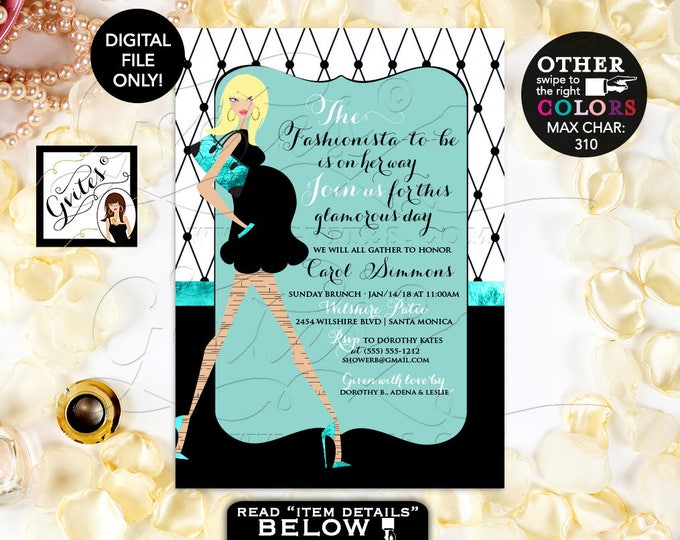 """Fashionista invitation, Baby and Co Baby Shower Printable Invitation, Paris baby shower invitations, 5x7, DIGITAL FILE ONLY! 5x7"""""""