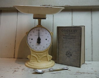 Rustic Antique Weighing Scales   Salter Enamel Face   Vintage Kitchen Scale    Rustic Kitchen Scale