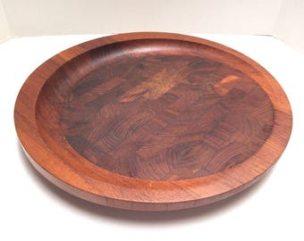 "Vintag 15.5"" Dansk IHQ STAVED Teak Wood Round Tray Cheese Board QUISTGAARD"
