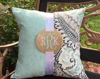 Monogram Pillow. Aqua Blue Pillow. Pillow Cover. Blue Pillow. Burlap Pillow. Monogram Burlap.