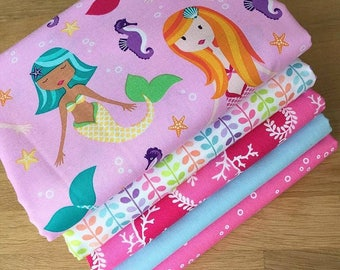 MER-MATES Fat Quarter Bundle G Michael Miller Quilting Fabric Pink Mermaid Sea