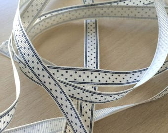 pretty Ribbon grosgrain white with blue stars