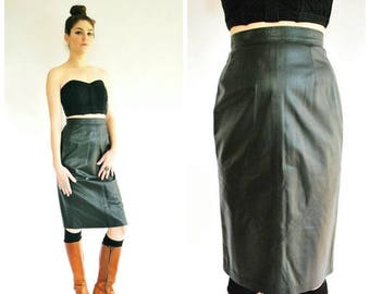 SALE 25% Off Black Leather Pencil Skirt - High Waisted 80's Skirt - Size Small