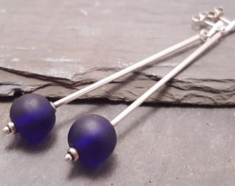 Lampwork Glass Bead Long Drop Earrings, Cobalt or Bristol Blue and Sterling Silver