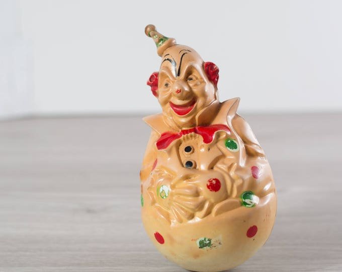 Roly Poly Clown / Antique Clown Toy / Vintage Circus Clown Plastic Stand up Toy with Weight at Bottom