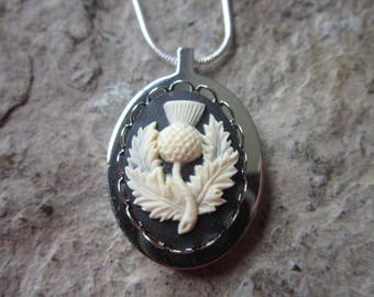 Scottish Thistle Cameo Stainless Steel Urn Necklace - Ashes -Locket of Hair  - Memorial - Urn - Scotland