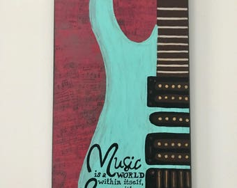 Electric guitar art, painting and collage