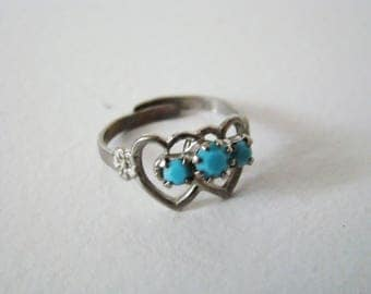 Vintage Turquoise Ring, Hearts Ring,  Native American Style Ring, Adjustable ring