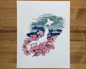Japan Print - Ocean Waves & Cherry Blossoms