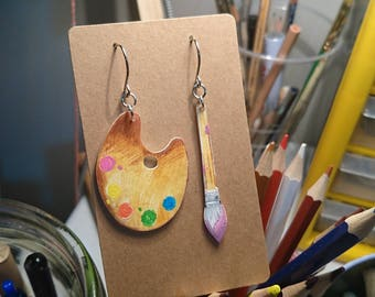 Artist palette and brush drop dangle combo, handmade and illustrated dangle earrings