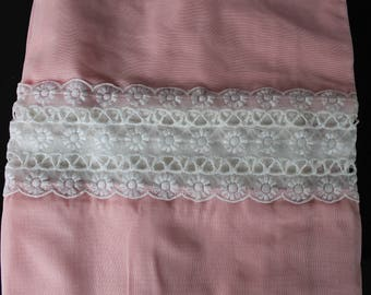 Vintage NEW Curtain Panel Set, Pink with Lace, Bedroom, Kitchen, Pink, Estate