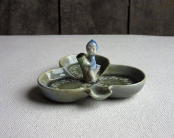 Vintage Wade Porcelain Elf Dish, Pixie, Ring, Trinket,Ash Tray,Dresser,Blue Tree Elf Figurine,Shamrock Shape,Small Elf Dish,Character Series