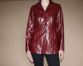 90's does 70's Burgundy Red Vegan Leather Button-Up Jacket from the 1990's