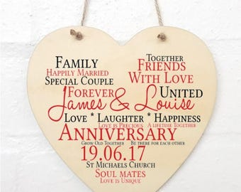 Personalised Anniversary Hanging Heart Sign Plaque.
