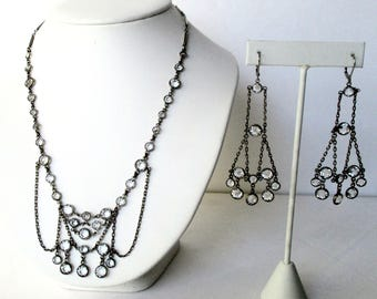 Vintage Jewelry Set:   Crystal Necklace With Matching Earings