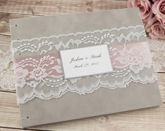 Wedding Guest Book, Personalized, Photo Guest Book, Gray Guest Book, White Lace, Select Your Pages, Select Your Ribbon, Custom Made For You