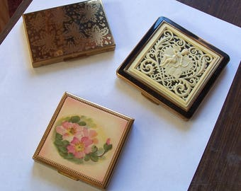 Three Vintage Compacts - One Price! - Zell, KIGU and Unmarked Floral Compact
