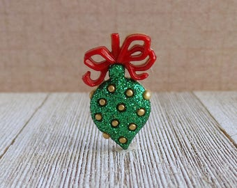 Ornament - Christmas Tree Ornament - Green and Red - Bulb - Gold Polka Dots - Lapel Pin